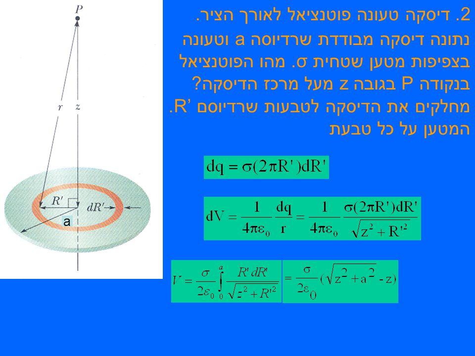 2. דיסקה טעונה פוטנציאל לאורך הציר. נתונה דיסקה מבודדת שרדיוסה a וטעונה בצפיפות מטען שטחית σ.