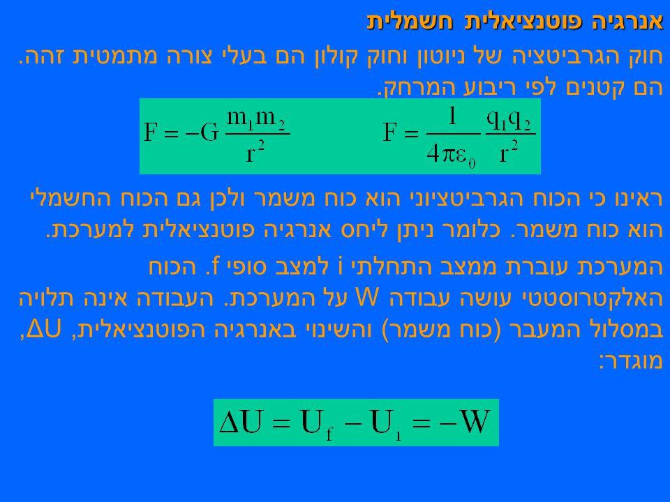 אנרגיה פוטנציאלית חשמלית חוק הגרביטציה של ניוטון וחוק קולון הם בעלי צורה מתמטית זהה.