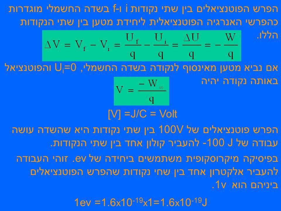 עבודה הנעשית ע י כוח חיצוני כוח חיצוני מזיז מטען q בשדה חשמלי E מנקודה i לנקודה f.