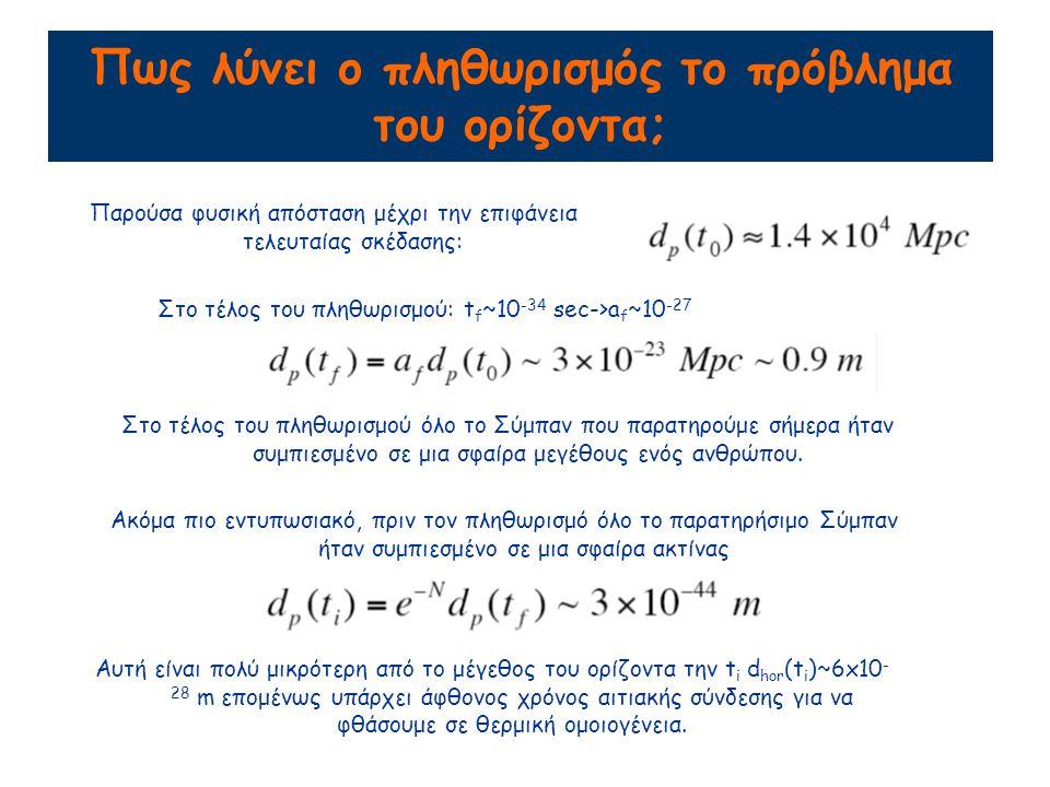 Πως λύνει ο πληθωρισμός το πρόβλημα του ορίζοντα; Παρούσα φυσική απόσταση μέχρι την επιφάνεια τελευταίας σκέδασης: Στο τέλος του πληθωρισμού: t f ~10 -34 sec->a f ~10 -27 Στο τέλος του πληθωρισμού όλο το Σύμπαν που παρατηρούμε σήμερα ήταν συμπιεσμένο σε μια σφαίρα μεγέθους ενός ανθρώπου.