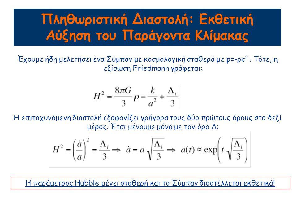 Πληθωριστική Διαστολή: Εκθετική Αύξηση του Παράγοντα Κλίμακας Έχουμε ήδη μελετήσει ένα Σύμπαν με κοσμολογική σταθερά με p=-ρc 2.