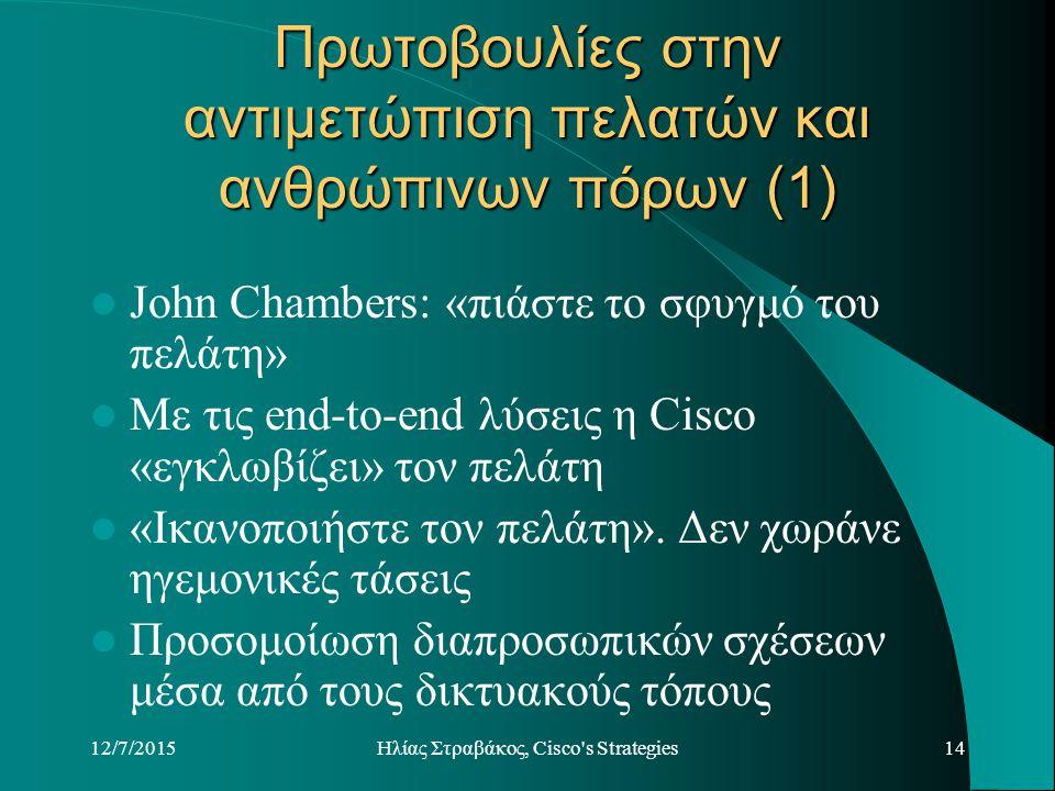 12/7/2015Hλίας Στραβάκος, Cisco s Strategies14 Πρωτοβουλίες στην αντιμετώπιση πελατών και ανθρώπινων πόρων (1) John Chambers: «πιάστε το σφυγμό του πελάτη» Με τις end-to-end λύσεις η Cisco «εγκλωβίζει» τον πελάτη «Ικανοποιήστε τον πελάτη».