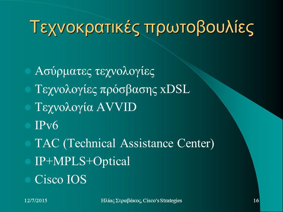 12/7/2015Hλίας Στραβάκος, Cisco s Strategies16 Τεχνοκρατικές πρωτοβουλίες Ασύρματες τεχνολογίες Τεχνολογίες πρόσβασης xDSL Τεχνολογία AVVID IPv6 TAC (Technical Assistance Center) IP+MPLS+Optical Cisco IOS