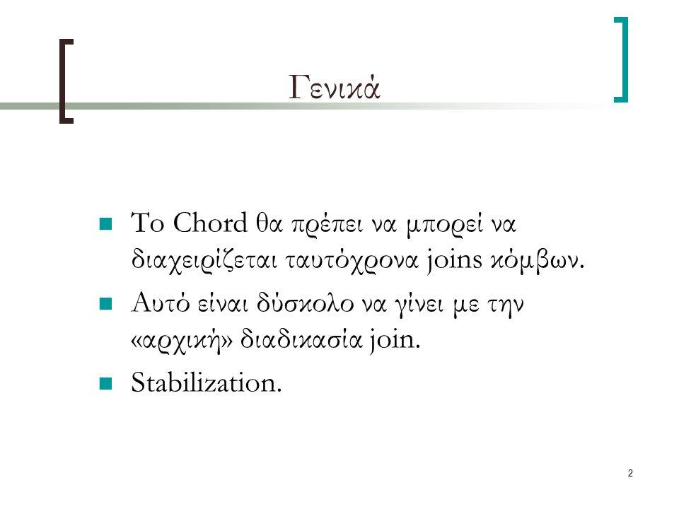 2 Γενικά To Chord θα πρέπει να μπορεί να διαχειρίζεται ταυτόχρονα joins κόμβων. Αυτό είναι δύσκολο να γίνει με την «αρχική» διαδικασία join. Stabiliza