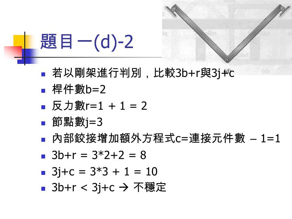題目一 (d)-2 若以剛架進行判別,比較 3b+r 與 3j+c 桿件數 b=2 反力數 r=1 + 1 = 2 節點數 j=3 內部鉸接增加額外方程式 c= 連接元件數 – 1=1 3b+r = 3*2+2 = 8 3j+c = 3*3 + 1 = 10 3b+r < 3j+c  不穩定