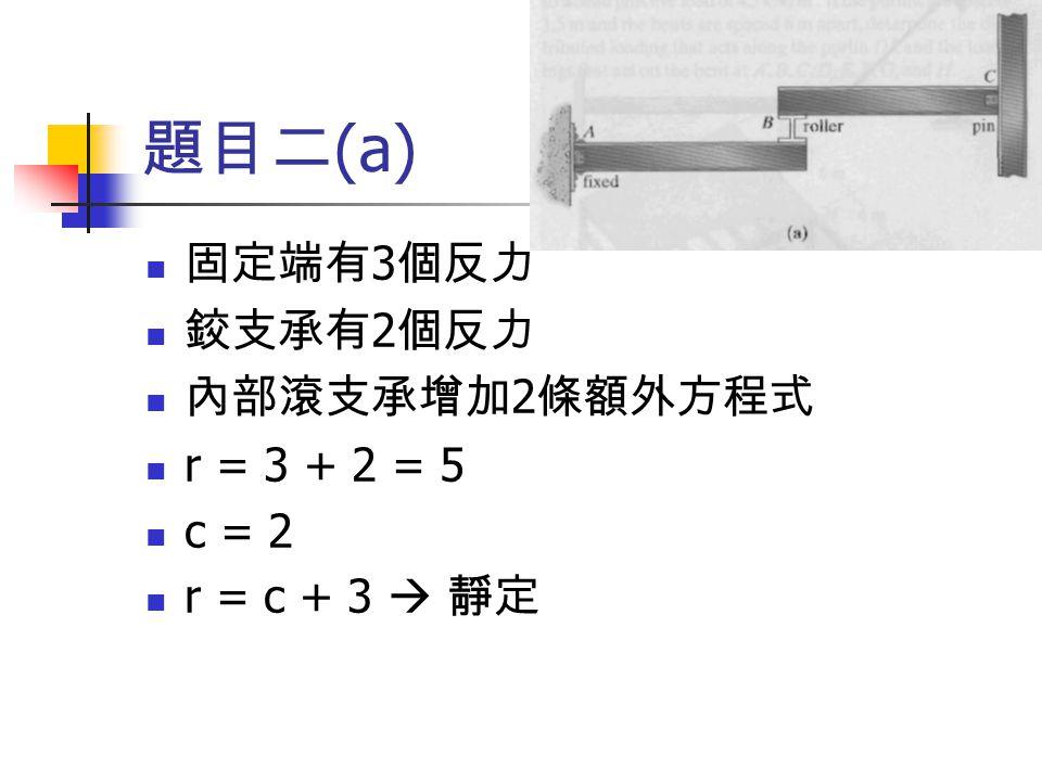 題目二 (a) 固定端有 3 個反力 鉸支承有 2 個反力 內部滾支承增加 2 條額外方程式 r = 3 + 2 = 5 c = 2 r = c + 3  靜定