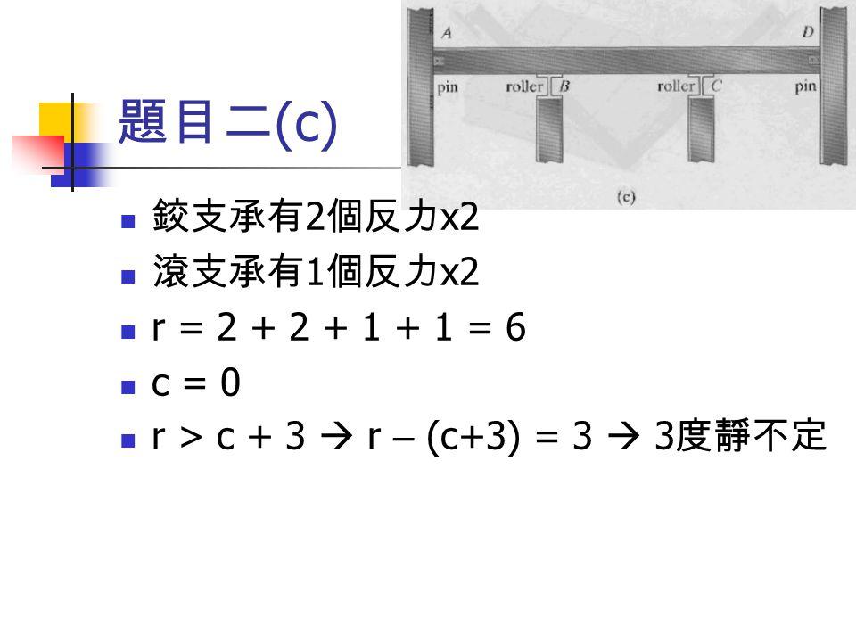 題目二 (c) 鉸支承有 2 個反力 x2 滾支承有 1 個反力 x2 r = 2 + 2 + 1 + 1 = 6 c = 0 r > c + 3  r – (c+3) = 3  3 度靜不定