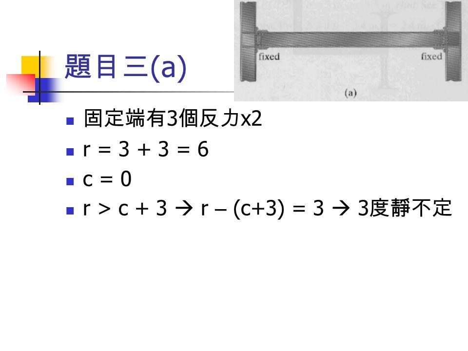 題目三 (a) 固定端有 3 個反力 x2 r = 3 + 3 = 6 c = 0 r > c + 3  r – (c+3) = 3  3 度靜不定