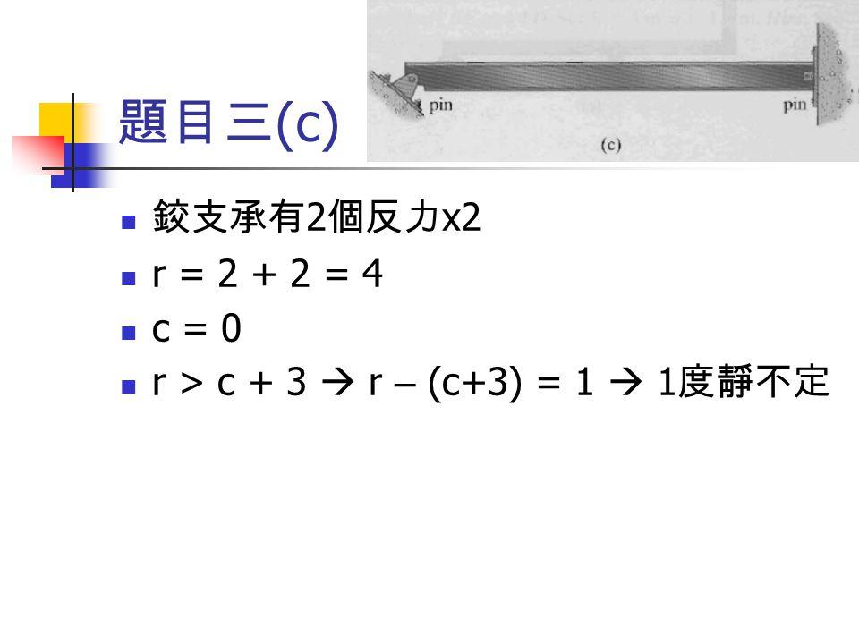 題目三 (c) 鉸支承有 2 個反力 x2 r = 2 + 2 = 4 c = 0 r > c + 3  r – (c+3) = 1  1 度靜不定