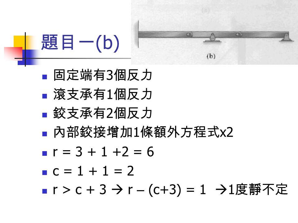 題目一 (b) 固定端有 3 個反力 滾支承有 1 個反力 鉸支承有 2 個反力 內部鉸接增加 1 條額外方程式 x2 r = 3 + 1 +2 = 6 c = 1 + 1 = 2 r > c + 3  r – (c+3) = 1  1 度靜不定