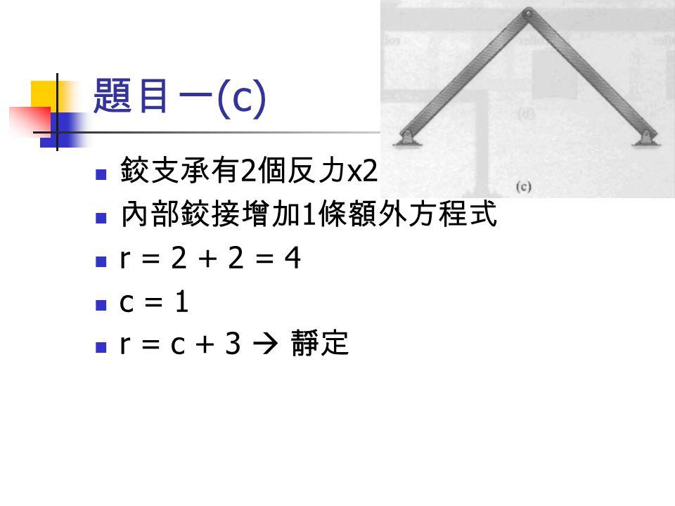 題目一 (c) 鉸支承有 2 個反力 x2 內部鉸接增加 1 條額外方程式 r = 2 + 2 = 4 c = 1 r = c + 3  靜定