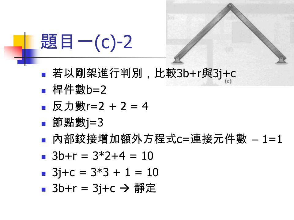 題目一 (c)-2 若以剛架進行判別,比較 3b+r 與 3j+c 桿件數 b=2 反力數 r=2 + 2 = 4 節點數 j=3 內部鉸接增加額外方程式 c= 連接元件數 – 1=1 3b+r = 3*2+4 = 10 3j+c = 3*3 + 1 = 10 3b+r = 3j+c  靜定