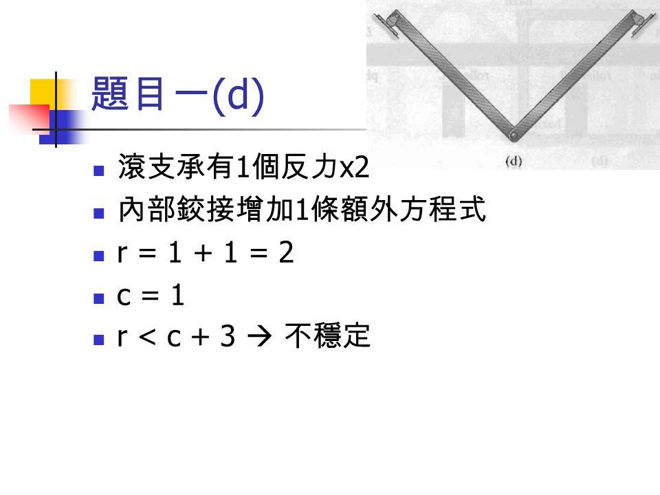 題目一 (d) 滾支承有 1 個反力 x2 內部鉸接增加 1 條額外方程式 r = 1 + 1 = 2 c = 1 r < c + 3  不穩定