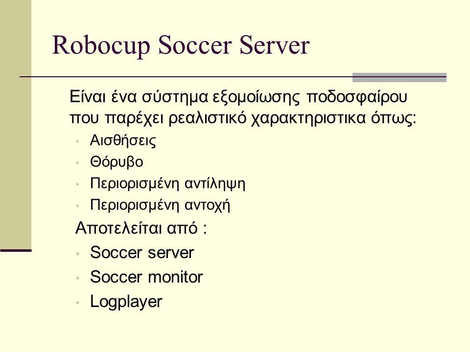 Robocup Soccer Server Είναι ένα σύστημα εξομοίωσης ποδοσφαίρου που παρέχει ρεαλιστικό χαρακτηριστικα όπως: Αισθήσεις Θόρυβο Περιορισμένη αντίληψη Περιορισμένη αντοχή Αποτελείται από : Soccer server Soccer monitor Logplayer