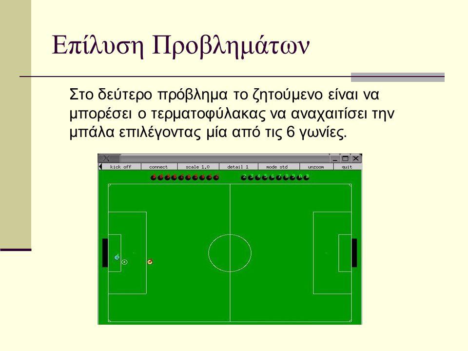 Επίλυση Προβλημάτων Στο δεύτερο πρόβλημα το ζητούμενο είναι να μπορέσει ο τερματοφύλακας να αναχαιτίσει την μπάλα επιλέγοντας μία από τις 6 γωνίες.