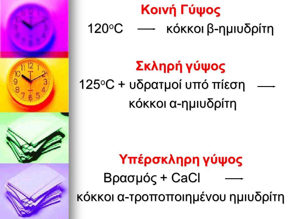 Κοινή Γύψος 120 ο C κόκκοι β-ημιυδρίτη Σκληρή γύψος 125 ο C + υδρατμοί υπό πίεση 125 ο C + υδρατμοί υπό πίεση κόκκοι α-ημιυδρίτη κόκκοι α-ημιυδρίτη Υπέρσκληρη γύψος Βρασμός + CaCl Βρασμός + CaCl κόκκοι α-τροποποιημένου ημιυδρίτη