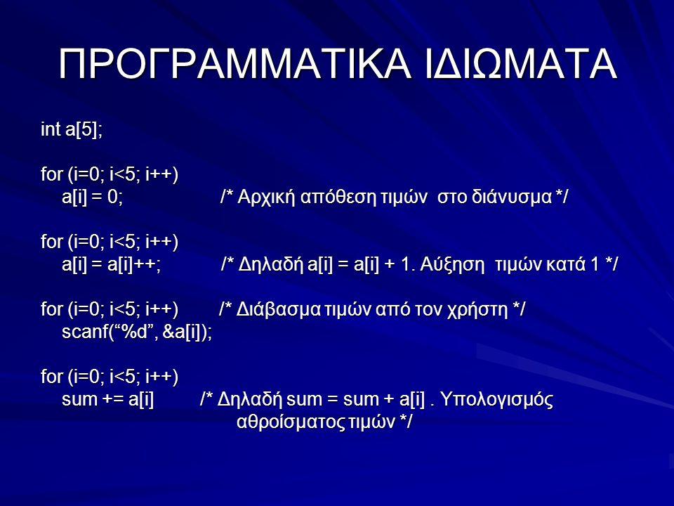 ΠΡΟΓΡΑΜΜΑΤΙΚΑ ΙΔΙΩΜΑΤΑ int a[5]; for (i=0; i<5; i++) a[i] = 0; /* Αρχική απόθεση τιμών στο διάνυσμα */ a[i] = 0; /* Αρχική απόθεση τιμών στο διάνυσμα */ for (i=0; i<5; i++) a[i] = a[i]++; /* Δηλαδή a[i] = a[i] + 1.