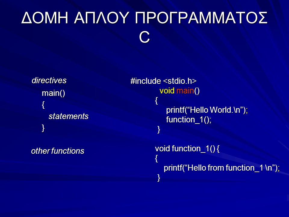 ΔΟΜΗ ΑΠΛΟΥ ΠΡΟΓΡΑΜΜΑΤΟΣ C directives directives main() main() { statements statements } other functions other functions #include #include void main() { printf( Hello World.\n ); printf( Hello World.\n ); function_1(); function_1(); } void function_1() { void function_1() { { printf( Hello from function_1 \n ); printf( Hello from function_1 \n ); }