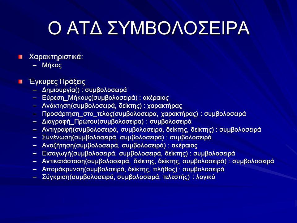 Ο ΑΤΔ ΣΥΜΒΟΛΟΣΕΙΡΑ Χαρακτηριστικά: –Μήκος Έγκυρες Πράξεις –Δημιουργία() : συμβολοσειρά –Εύρεση_Μήκους(συμβολοσειρά) : ακέραιος –Ανάκτηση(συμβολοσειρά,