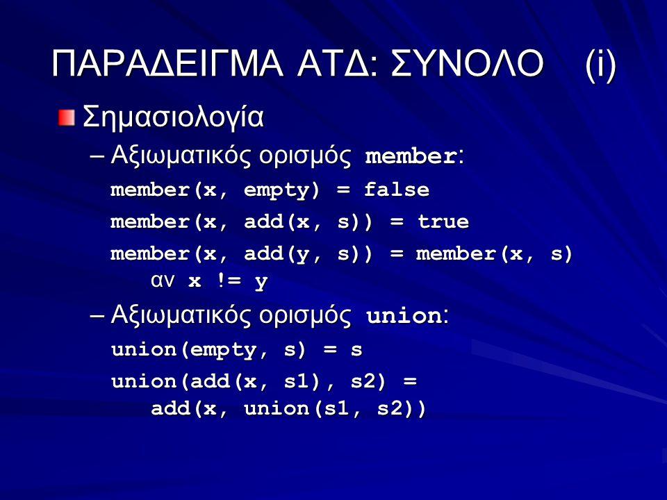 ΠΑΡΑΔΕΙΓΜΑ ΑΤΔ: ΣΥΝΟΛΟ(i) Σημασιολογία –Αξιωματικός ορισμός member : member(x, empty) = false member(x, add(x, s)) = true member(x, add(y, s)) = member(x, s) αν x != y –Αξιωματικός ορισμός union : union(empty, s) = s union(add(x, s1), s2) = add(x, union(s1, s2))