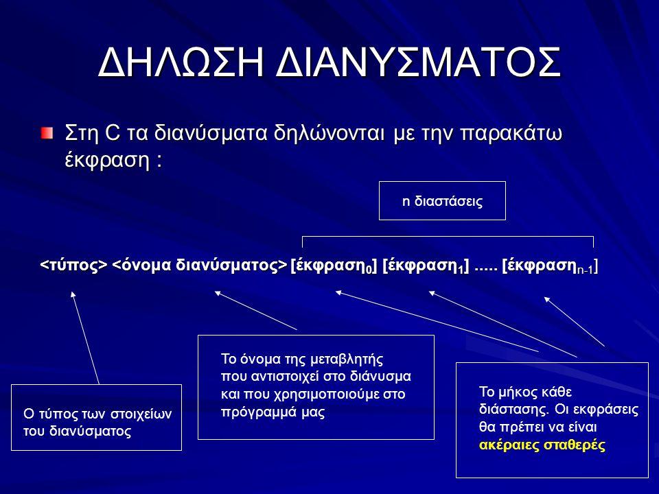 ΔΗΛΩΣΗ ΔΙΑΝΥΣΜΑΤΟΣ Στη C τα διανύσματα δηλώνονται με την παρακάτω έκφραση : [έκφραση 0 ] [έκφραση 1 ]..... [έκφραση n-1 ] [έκφραση 0 ] [έκφραση 1 ]...