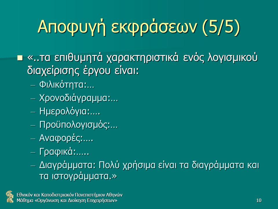 Εθνικόν και Καποδιστριακόν Πανεπιστήμιον Αθηνών Μάθημα «Οργάνωση και Διοίκηση Επιχειρήσεων»10 Αποφυγή εκφράσεων (5/5) «..τα επιθυμητά χαρακτηριστικά ενός λογισμικού διαχείρισης έργου είναι: «..τα επιθυμητά χαρακτηριστικά ενός λογισμικού διαχείρισης έργου είναι: – Φιλικότητα:… – Χρονοδιάγραμμα:… – Ημερολόγια:….