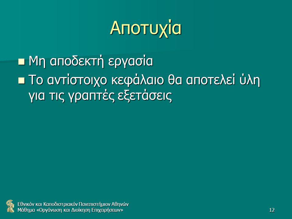 Εθνικόν και Καποδιστριακόν Πανεπιστήμιον Αθηνών Μάθημα «Οργάνωση και Διοίκηση Επιχειρήσεων»12 Αποτυχία Μη αποδεκτή εργασία Μη αποδεκτή εργασία Το αντίστοιχο κεφάλαιο θα αποτελεί ύλη για τις γραπτές εξετάσεις Το αντίστοιχο κεφάλαιο θα αποτελεί ύλη για τις γραπτές εξετάσεις