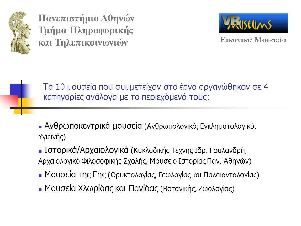 Πανεπιστήμιο Αθηνών Τμήμα Πληροφορικής και Τηλεπικοινωνιών Εικονικά Μουσεία Τα 10 μουσεία που συμμετείχαν στο έργο οργανώθηκαν σε 4 κατηγορίες ανάλογα με το περιεχόμενό τους: Ανθρωποκεντρικά μουσεία (Ανθρωπολογικό, Εγκληματολογικό, Υγιεινής) Ιστορικά/Αρχαιολογικά (Κυκλαδικής Τέχνης Ιδρ.