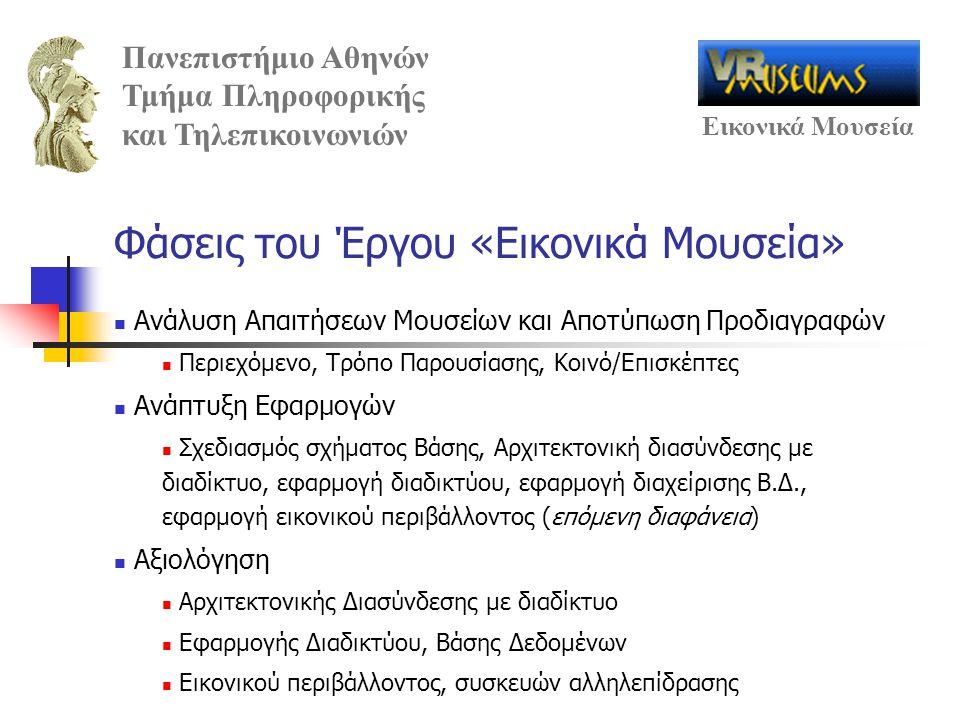 Πανεπιστήμιο Αθηνών Τμήμα Πληροφορικής και Τηλεπικοινωνιών Εικονικά Μουσεία Φάσεις του Έργου «Εικονικά Μουσεία» Ανάλυση Απαιτήσεων Μουσείων και Αποτύπ