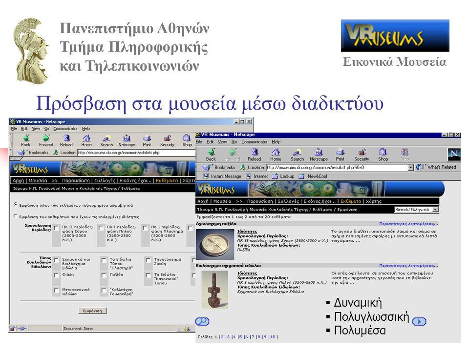 Πανεπιστήμιο Αθηνών Τμήμα Πληροφορικής και Τηλεπικοινωνιών Εικονικά Μουσεία Πρόσβαση στα μουσεία μέσω διαδικτύου  Δυναμική  Πολυγλωσσική  Πολυμέσα