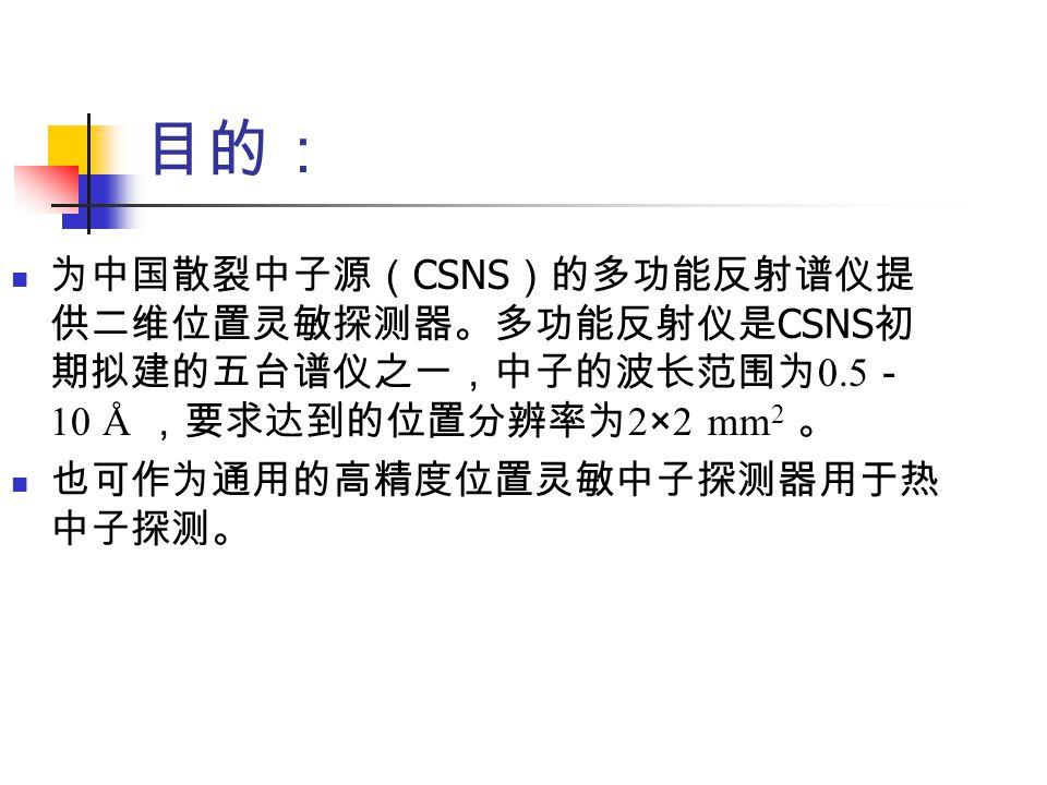 目的: 为中国散裂中子源( CSNS )的多功能反射谱仪提 供二维位置灵敏探测器。多功能反射仪是 CSNS 初 期拟建的五台谱仪之一,中子的波长范围为 0.5 - 10 Å ,要求达到的位置分辨率为 2 × 2 mm 2 。 也可作为通用的高精度位置灵敏中子探测器用于热 中子探测。