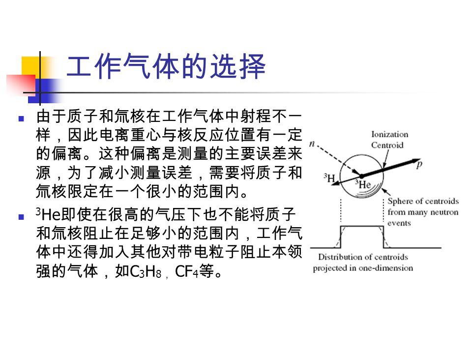 工作气体的选择 由于质子和氚核在工作气体中射程不一 样,因此电离重心与核反应位置有一定 的偏离。这种偏离是测量的主要误差来 源,为了减小测量误差,需要将质子和 氚核限定在一个很小的范围内。 3 He 即使在很高的气压下也不能将质子 和氚核阻止在足够小的范围内,工作气 体中还得加入其他对带电粒子阻止本