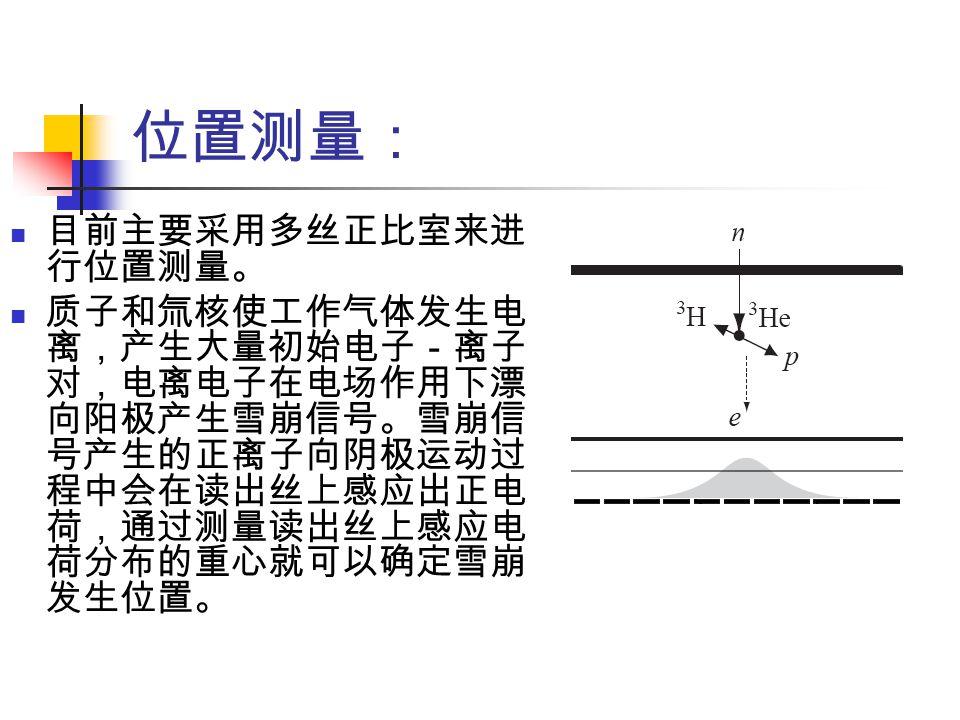 位置测量: 目前主要采用多丝正比室来进 行位置测量。 质子和氚核使工作气体发生电 离,产生大量初始电子-离子 对,电离电子在电场作用下漂 向阳极产生雪崩信号。雪崩信 号产生的正离子向阴极运动过 程中会在读出丝上感应出正电 荷,通过测量读出丝上感应电 荷分布的重心就可以确定雪崩 发生位置。