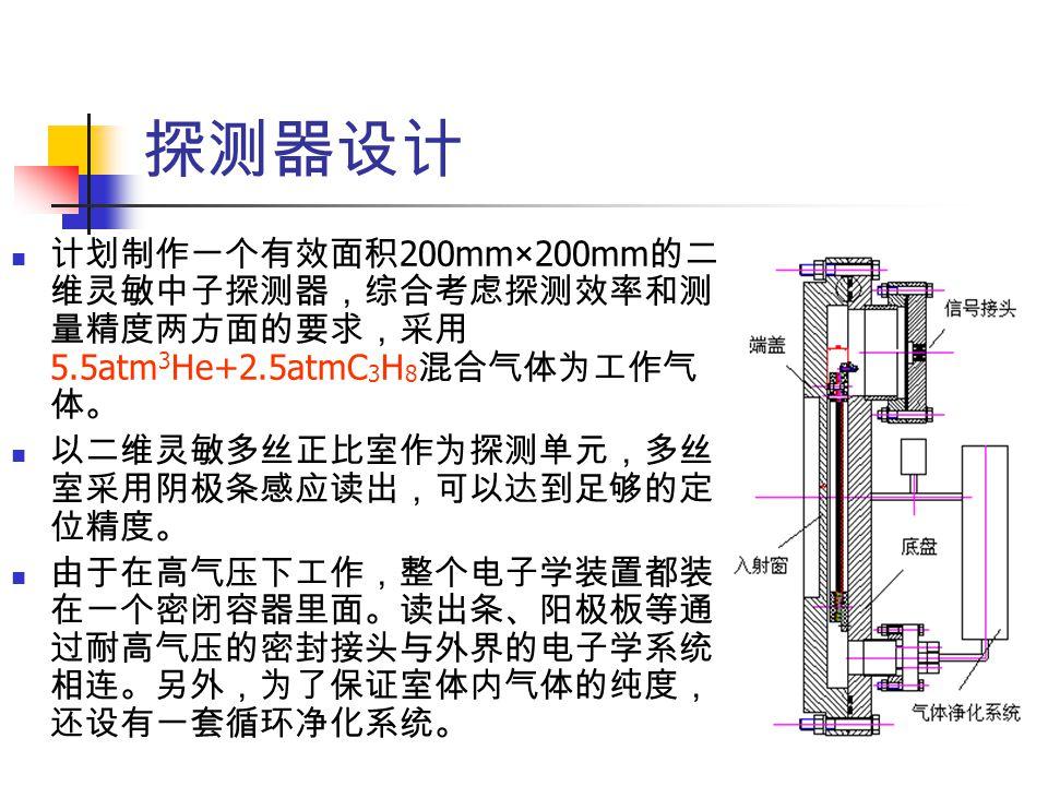探测器设计 计划制作一个有效面积 200mm×200mm 的二 维灵敏中子探测器,综合考虑探测效率和测 量精度两方面的要求,采用 5.5atm 3 He+2.5atmC 3 H 8 混合气体为工作气 体。 以二维灵敏多丝正比室作为探测单元,多丝 室采用阴极条感应读出,可以达到足够的定 位精度。 由于