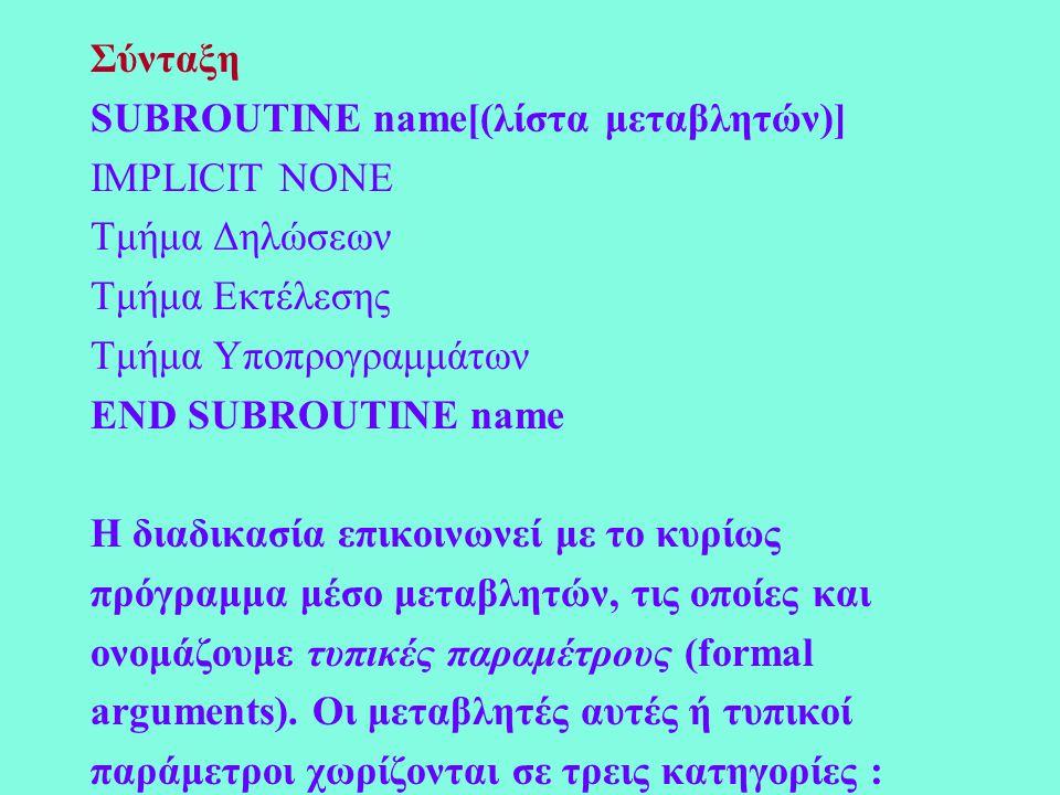 Σύνταξη SUBROUTINE name[(λίστα μεταβλητών)] IMPLICIT NONE Τμήμα Δηλώσεων Τμήμα Εκτέλεσης Τμήμα Υποπρογραμμάτων END SUBROUTINE name Η διαδικασία επικοινωνεί με το κυρίως πρόγραμμα μέσo μεταβλητών, τις οποίες και ονομάζουμε τυπικές παραμέτρους (formal arguments).