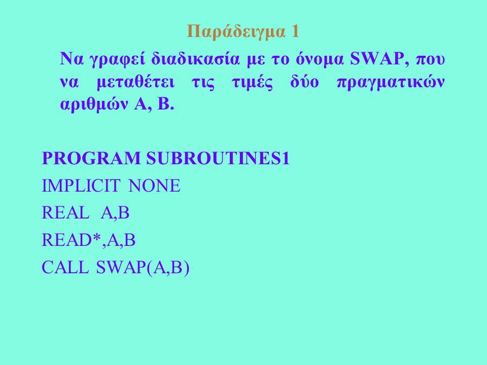 Παράδειγμα 1 Να γραφεί διαδικασία με το όνομα SWAP, που να μεταθέτει τις τιμές δύο πραγματικών αριθμών Α, Β. PROGRAM SUBROUTINES1 IMPLICIT NONE REAL A