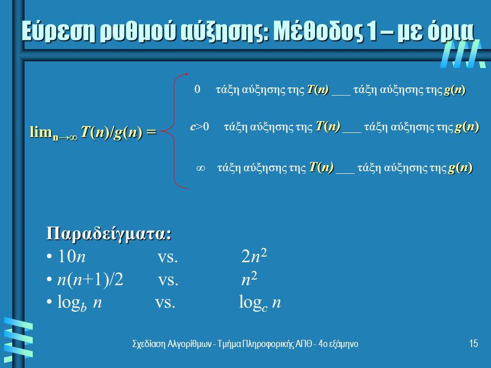Σχεδίαση Αλγορίθμων - Τμήμα Πληροφορικής ΑΠΘ - 4ο εξάμηνο15 Εύρεση ρυθμού αύξησης: Μέθοδος 1 – με όρια lim n→∞ T(n)/g(n) = T(n)g(n) 0 τάξη αύξησης της T(n) ___ τάξη αύξησης της g(n) T(n)g(n) c>0 τάξη αύξησης της T(n) ___ τάξη αύξησης της g(n) T(n)g(n) ∞ τάξη αύξησης της T(n) ___ τάξη αύξησης της g(n) Παραδείγματα: 10n vs.