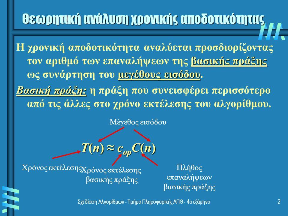 Σχεδίαση Αλγορίθμων - Τμήμα Πληροφορικής ΑΠΘ - 4ο εξάμηνο3 Μέγεθος εισόδου & βασική πράξη Πρόβλημα Μέγεθος εισόδου Βασική πράξη Αναζήτηση κλειδιού σε λίστα με n αντικείμενα Το πλήθος n των αντικειμένων Συγκρίσεις κλειδιών Πολλαπλασιασμός πινάκων με πραγματικούς αριθμούς Διαστάσεις των πινάκων Πολλαπλασιασμός πραγματικών αριθμών Υπολογισμός a n n Πολλαπλασιασμός πραγματικών αριθμών Προβλήματα με γράφους Πλήθος κορυφών ή/και ακμών Η επίσκεψη ενός κόμβου ή η διάσχιση μίας ακμής