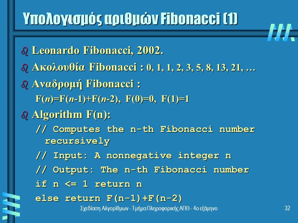 Σχεδίαση Αλγορίθμων - Τμήμα Πληροφορικής ΑΠΘ - 4ο εξάμηνο32 b Leonardo Fibonacci, 2002.
