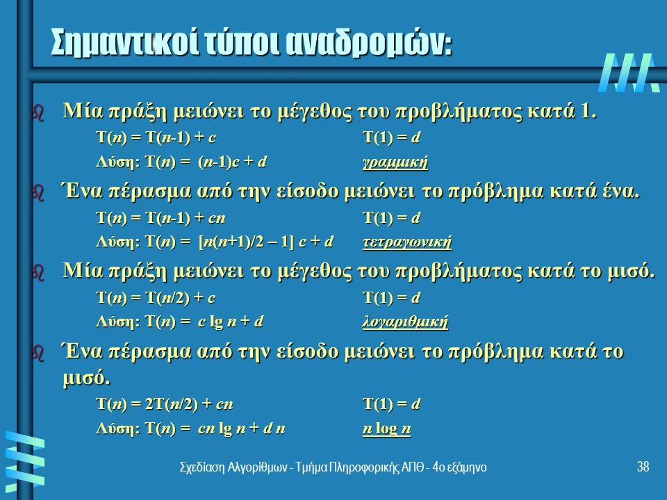 Σχεδίαση Αλγορίθμων - Τμήμα Πληροφορικής ΑΠΘ - 4ο εξάμηνο38 Σημαντικοί τύποι αναδρομών: b Μία πράξη μειώνει το μέγεθος του προβλήματος κατά 1.