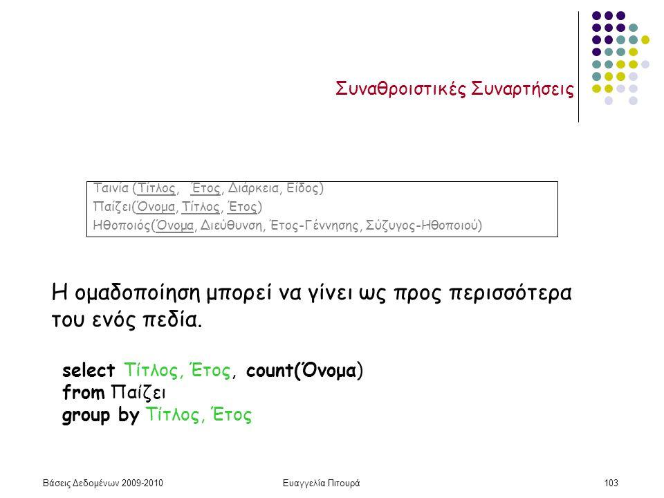 Βάσεις Δεδομένων 2009-2010Ευαγγελία Πιτουρά103 Συναθροιστικές Συναρτήσεις Η ομαδοποίηση μπορεί να γίνει ως προς περισσότερα του ενός πεδία. select Τίτ