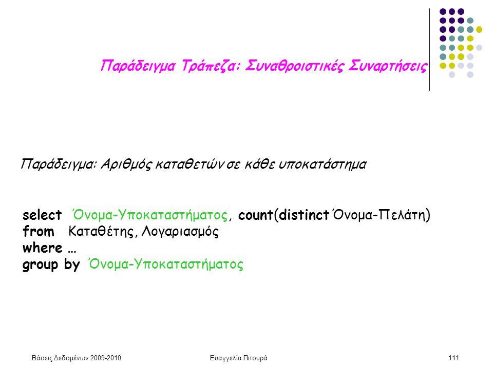 Βάσεις Δεδομένων 2009-2010Ευαγγελία Πιτουρά111 Παράδειγμα Τράπεζα: Συναθροιστικές Συναρτήσεις Παράδειγμα: Αριθμός καταθετών σε κάθε υποκατάστημα selec