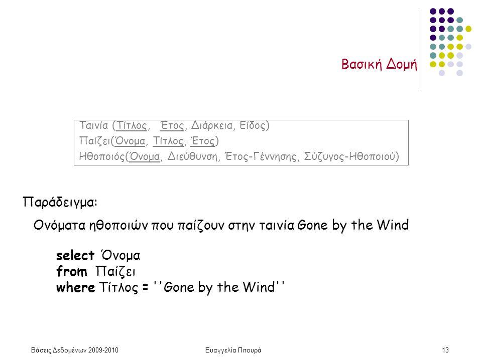 Βάσεις Δεδομένων 2009-2010Ευαγγελία Πιτουρά13 Βασική Δομή Παράδειγμα: select Όνομα from Παίζει where Τίτλος = ''Gone by the Wind'' Ονόματα ηθοποιών πο