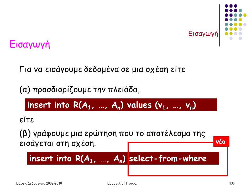Βάσεις Δεδομένων 2009-2010Ευαγγελία Πιτουρά136 Εισαγωγή Για να εισάγουμε δεδομένα σε μια σχέση είτε (α) προσδιορίζουμε την πλειάδα, είτε (β) γράφουμε