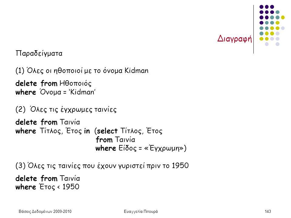 Βάσεις Δεδομένων 2009-2010Ευαγγελία Πιτουρά143 Διαγραφή Παραδείγματα (1) Όλες οι ηθοποιοί με το όνομα Kidman delete from Ηθοποιός where Όνομα = 'Kidma