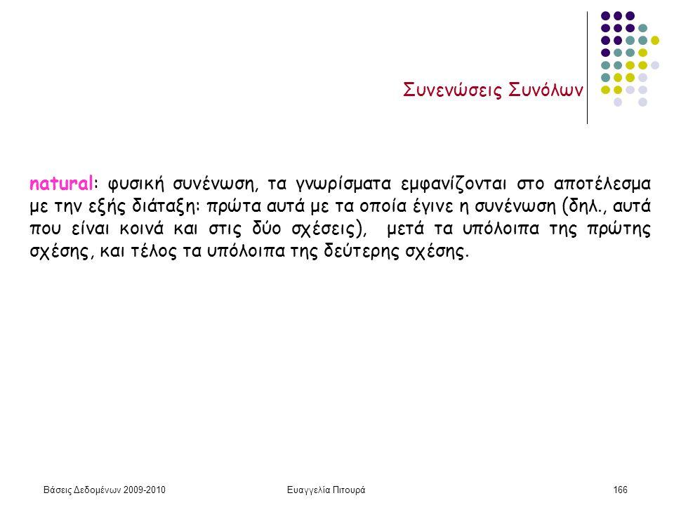 Βάσεις Δεδομένων 2009-2010Ευαγγελία Πιτουρά166 Συνενώσεις Συνόλων natural: φυσική συνένωση, τα γνωρίσματα εμφανίζονται στο αποτέλεσμα με την εξής διάτ