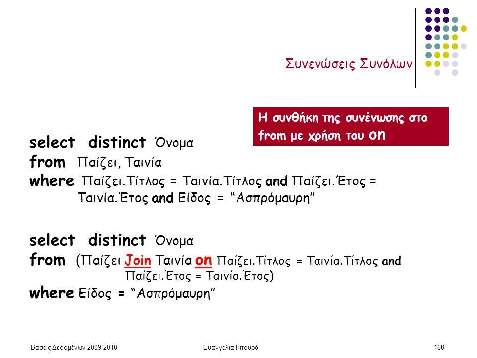 Βάσεις Δεδομένων 2009-2010Ευαγγελία Πιτουρά168 Συνενώσεις Συνόλων select distinct Όνομα from Παίζει, Ταινία where Παίζει.Τίτλος = Ταινία.Τίτλος and Πα