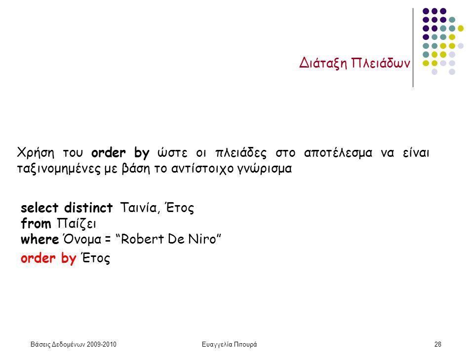 """Βάσεις Δεδομένων 2009-2010Ευαγγελία Πιτουρά28 Διάταξη Πλειάδων select distinct Ταινία, Έτος from Παίζει where Όνομα = """"Robert De Niro"""" order by Έτος Χ"""