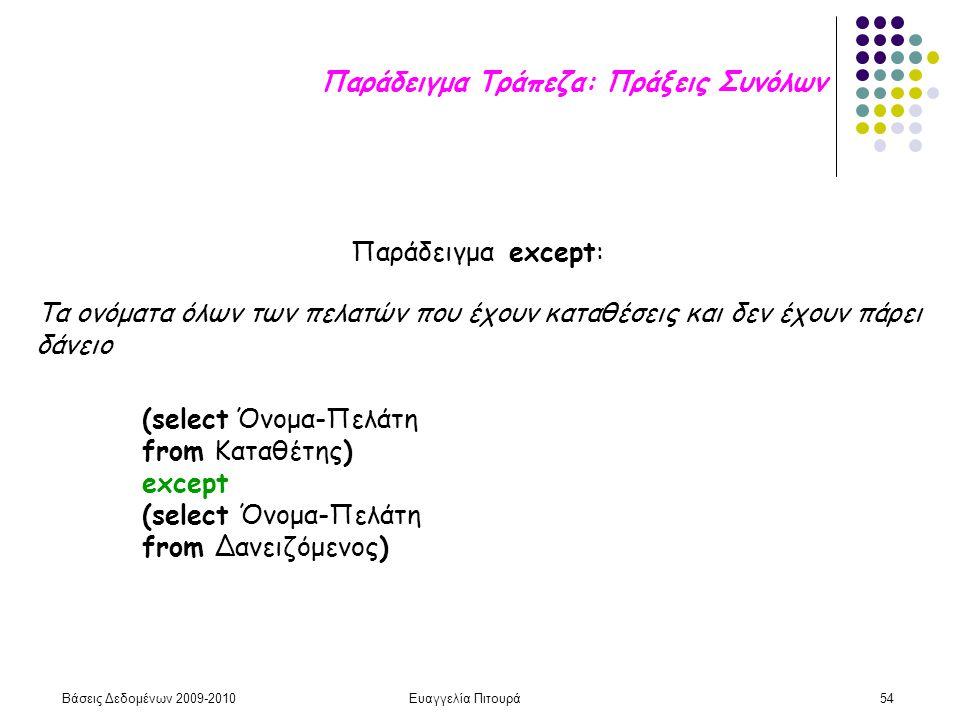 Βάσεις Δεδομένων 2009-2010Ευαγγελία Πιτουρά54 Παράδειγμα except: (select Όνομα-Πελάτη from Καταθέτης) except (select Όνομα-Πελάτη from Δανειζόμενος) Τ