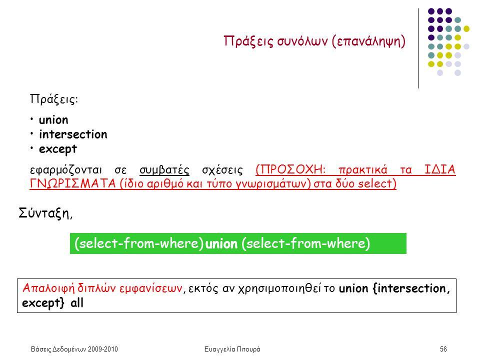 Βάσεις Δεδομένων 2009-2010Ευαγγελία Πιτουρά56 Πράξεις συνόλων (επανάληψη) Πράξεις: union intersection except εφαρμόζονται σε συμβατές σχέσεις (ΠΡΟΣΟΧΗ: πρακτικά τα ΙΔΙΑ ΓΝΩΡΙΣΜΑΤΑ (ίδιο αριθμό και τύπο γνωρισμάτων) στα δύο select) Σύνταξη, Απαλοιφή διπλών εμφανίσεων, εκτός αν χρησιμοποιηθεί το union {intersection, except} all (select-from-where) union (select-from-where)